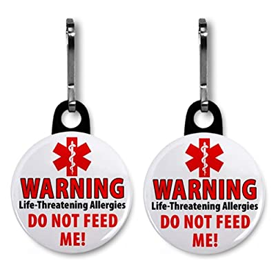 2 x DO NOT FEED ME Food Allergy Warning Alert 2.5cm Black Zipper Pull Charms