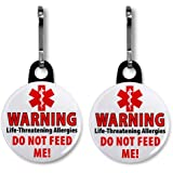 DO NOT FEED ME Food Allergy Warning Alert 2-Pack 1 inch Black Zipper Pull Charms