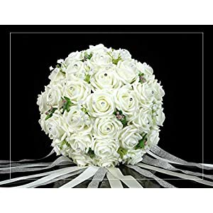 Coeus 30pcs of Rose Ivory Roses and Babysbreath Bouquet-bridal Wedding Bouquest Bouquet-bridal Wedding Bouquest Bouquet Toss Bouquet 15