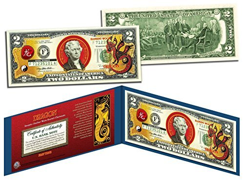 Chinese Zodiac YEAR OF THE DRAGON Colorized $2 Bill US Legal Tender Lucky...