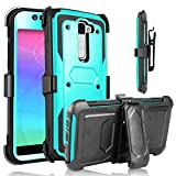 LG K7 Case, LG Tribute 5 Case, HengTech (TM) Heavy Duty Shockproof Durable Full Body Protection Rigged Hybrid Case with Belt Clip Holster and Kickstand For LG K7 All Carriers (Light Green ) For Sale