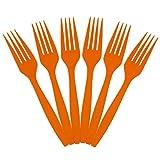 JAM Paper Big Party Pack of Premium Utensils - Plastic Forks - Orange - 100 Disposable Forks/Box