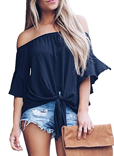Women's Striped Off The Shoulder Bell Sleeve Tops Shirt Tie Knot Chiffon Casual Blouses (S, Solid Black) (Hamptons Summer Stripe)