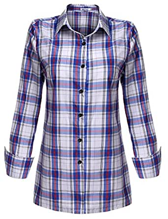 Meaneor Women's Fashion Casual Style Comfy Loose Fit Long Sleeve Cotton Red Plaid Flannel Dress Shirt Blouse (Red White S)