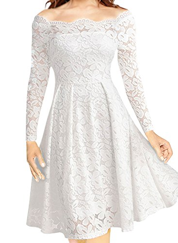 LITTLEPIG Women's Vintage Floral Lace Long Sleeve Boat Neck Cocktail Formal Swing Dress (XXXL, White)