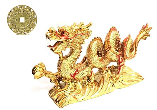 (LARGE GOLD Chinese Feng Shui Dragon Figurine Statue for Luck & Success 8.5 inch LONG with LUCKY ZODIAC COIN )