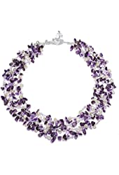 HinsonGayle 4-Strand Handwoven Gemstone & Freshwater Cultured Pearl Necklace