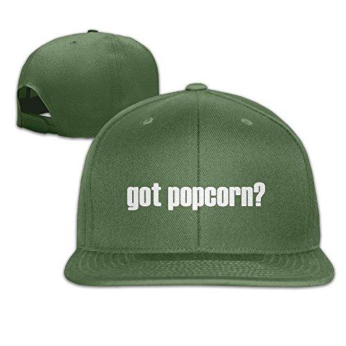 WilliamKL Got Popcorn Flat Bill Snapback Adjustable Athlete Cap Hat ForestGreen