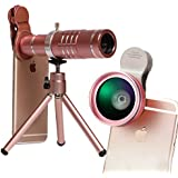 Youniker 3 in 1 Universal Camera Lens,18X Zoom Telephoto Lens+0.45X Wide Angle Lens+12.5X Macro Lens,Clip-on Cell Phone Camera Lens for iPhone 8/7/6 Plus,Samsung,Most Smartphones With Tripod