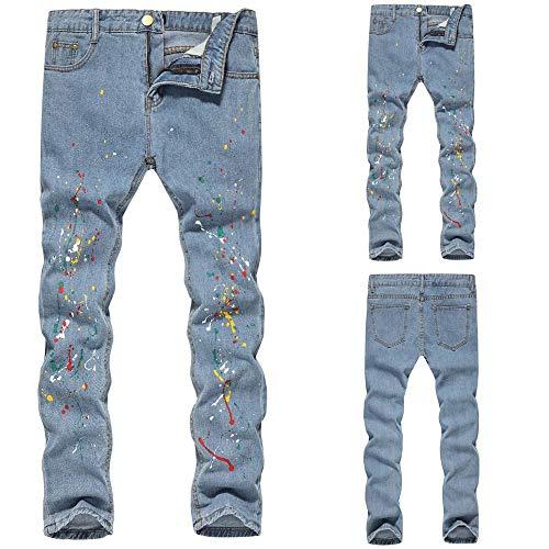 Clair Chic Bleu Dechire Taille Mode Imprimé De Grande Casual Vintage Travail Skinny Slim Pantalon Homme Jean En Longue Regular Coton Fit 4x5Z5RqHw