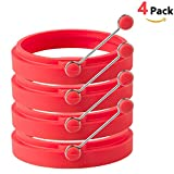 HOMIEHOME Nonstick Silicone Egg & Pancake Rings with Free Ebook & Gift Box- Red (4 Pack)