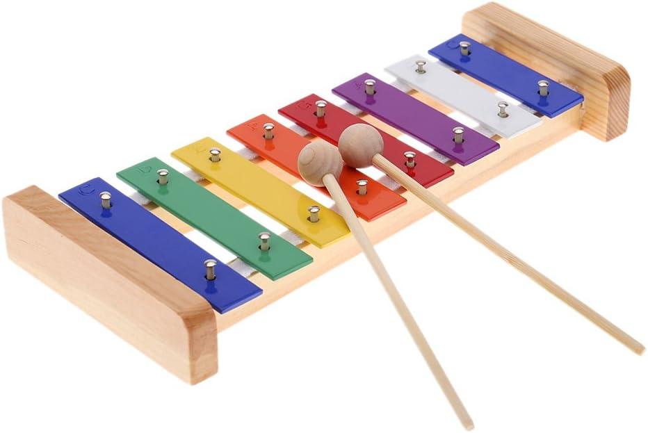 Andoer® Xilófono 8-Note, Glockenspiel Madera de Pino Colorido Placa de Aluminio C Tecla Percusión Toddle Juguetes Musicales para Ninos
