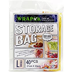 Wrapok Food Storage Bags, Sandwich Zipper, Easy Open Tabs 40 Count
