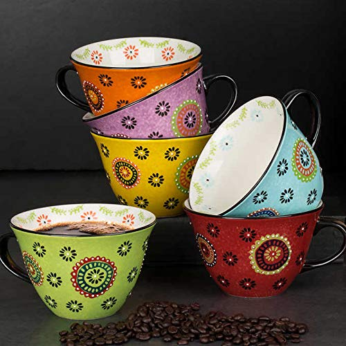 Signature Houseware Jumbo Sized Stoneware Mugs | Set of 6, 18 Ounce Large Cups | Perfect for Coffee, Tea, Cocoa, Soup | Hot Assorted Colors | Completely Lead-Free | Dishwasher and Microwave Safe