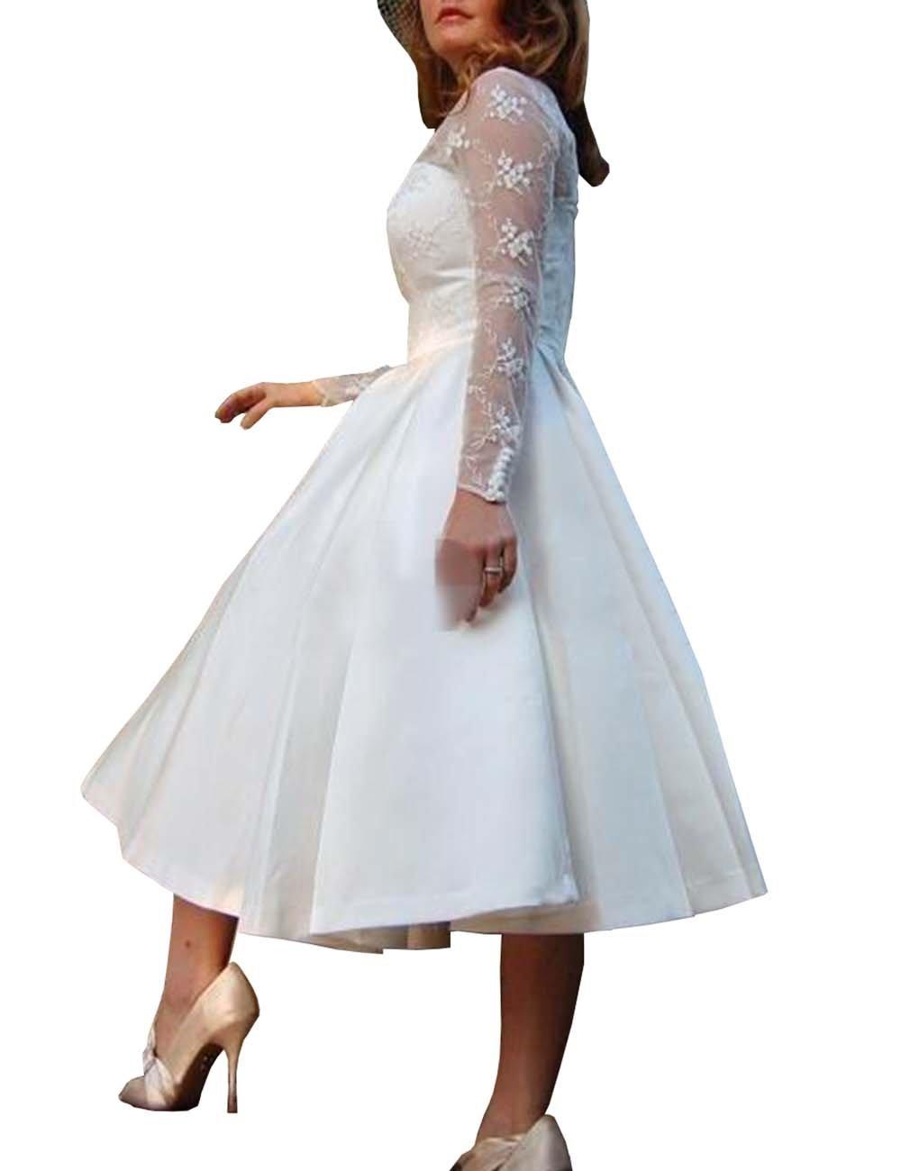 Mulanbridal Women\'s V Neck Long Sleeves Tea Length Short Wedding Dress  Satin Plus Size Bridal Gowns White 14