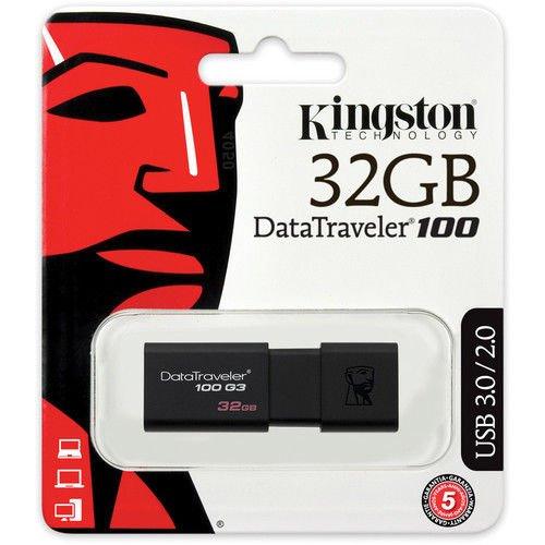 Kingston 32GB USB 3.0 DataTraveler 100 G3 (DT100G3/32GB) Kingston - Retail Digital Imaging DT100G3/32GBCR Flash Memory Devices