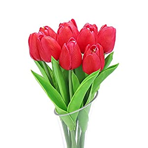 DECORA 10Pcs/Bag PU Holland Mini Tulip Artificial Flower Real Touch for Wedding,Home,Party Decoration (Red) 85