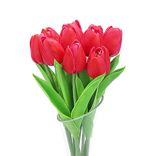 Decora 10Pcs/Bag High Quality PU Holland Mini Tulip Artificial Flower Real Touch for Wedding,Room,Home,Hotel,Party Decoration and Holiday (Red Tulip Flower)