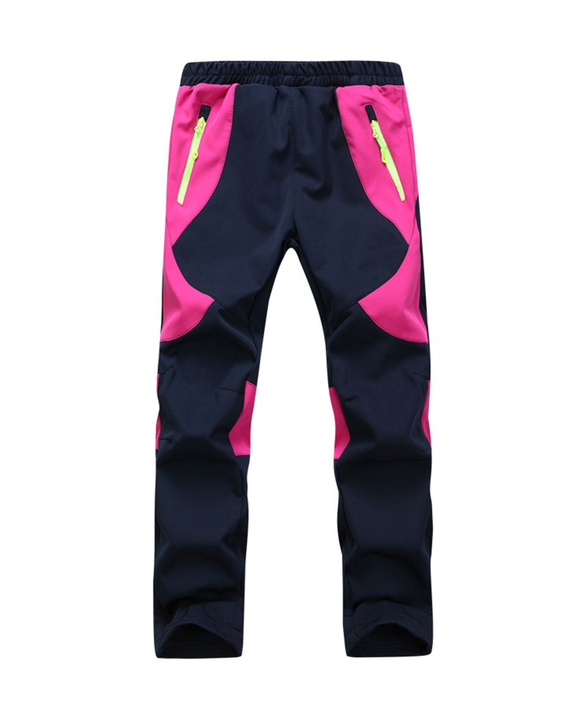 Youth Snow Pants with Reinforced Knees and Seat,Warm Climbing Trousers For Boys and Girls Blue and Red L