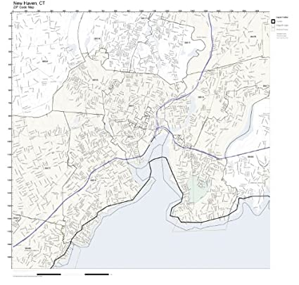 Amazoncom Zip Code Wall Map Of New Haven Ct Zip Code Map