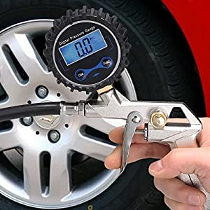 Tire Inflator Gauge with High Accurate Digital Pressure Gauge for Car Truck Motorcycle Bike