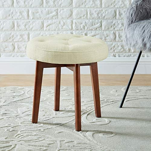 24KF Linen Tufted Round Ottoman with Solid Wood Leg, Upholstered Padded Stool – Cream