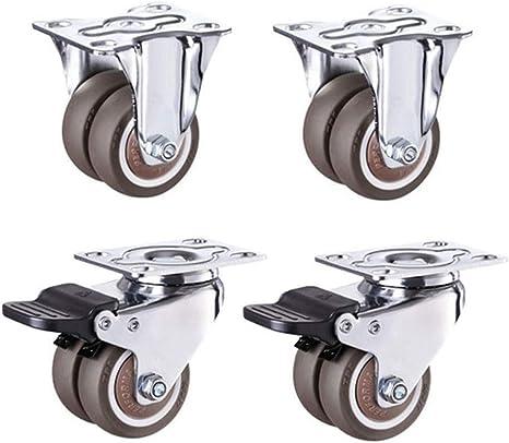 Crib castors Quiet and quiet Casters 1.5-inch Dia Wheel U-Clamp 20mm Top Rotatable Universal Swivel Brake Black 4pcs