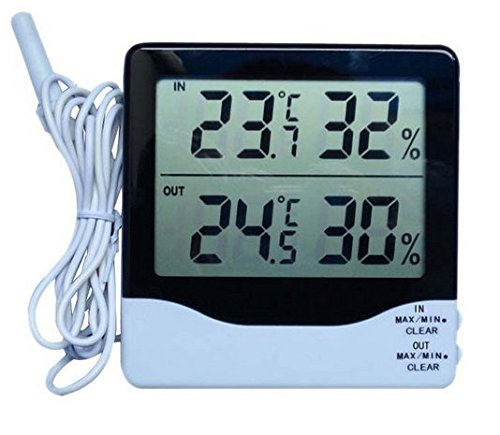 Hankcares Digital Thermometer Hygrometer Humidity&Big Industrial LCD Digital Indoor Outdoor Temperature and Humidity Meter
