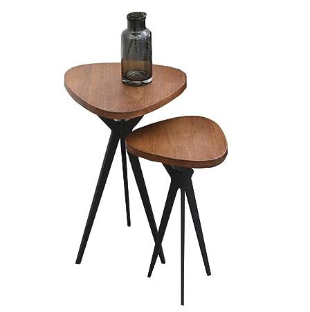 MYJ Furniture Mesa de Centro Nordic Madera Maciza Hierro Forjado ...