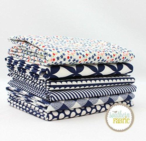 Bonnie Blue Fabrics - Basics - Navy Fat Quarter Bundle (6 pcs) - Bonnie and Camille - Moda 18 x 21 inches (45.72cm x 53.34cm) fabric cuts DIY quilt fabric