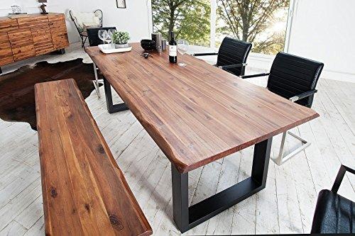 Casa Padrino Massivholz Esstisch Akazie / Eisengestell 200 cm - Esszimmer Tisch Massiv