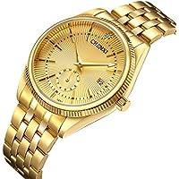 Relojes hombres marca de lujo hombres deportes relojes impermeable Full de los hombres reloj de cuarzo de acero, Dorado