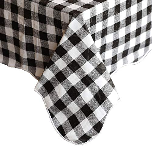 Rectangular PVC Vinyl Tablecloth, Water/Oil-Proof Table Cover, for Kitchen Dinning Rectangle Table Decoration(32 x 48 Inch, Black and White Checkered -