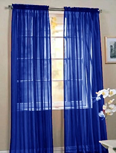 LuxuryDiscounts 2 Piece Solid Royal Blue Elegant Sheer Curtains Fully Stitched Panels Window Treatment Drape 60