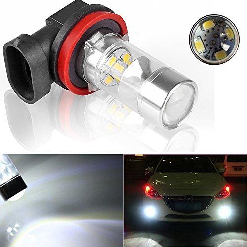 Dealetech 6000K HID White High Power H11 CREE LED Bulbs Car Fog DRL Driving Light 60W Lamp (H16 Blue Fog Light Bulb)