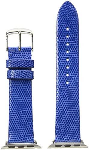 MICHELE MS38AB030415 38mm Apple Strap Leather Lizard Blue Watch Strap