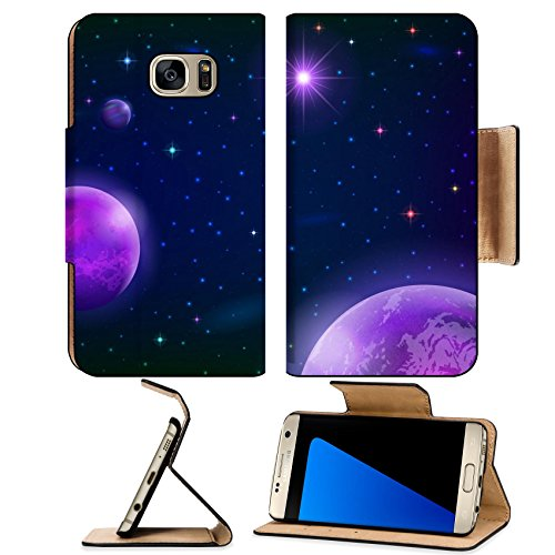 Liili Premium Samsung Galaxy S7 EDGE Flip Pu Leather Wallet Case Fantastic space background with three violet planets sun and stars Photo 20551191 Simple Snap - Pictures Sun Ray Free