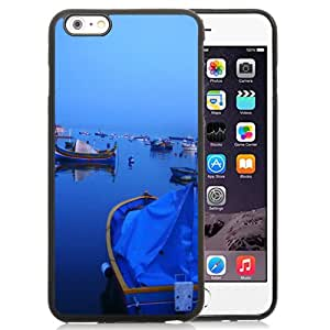 Fashionable And Unique Designed Cover Case For iPhone 6 Plus 5.5 Inch With Boat Dock Sunset_Black Phone Case