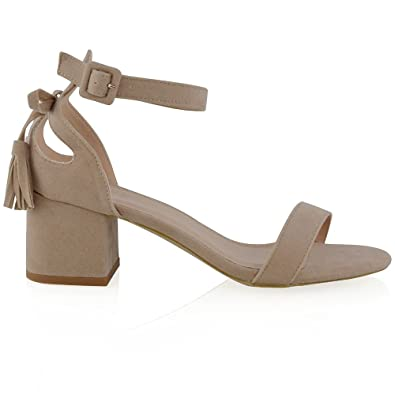 439a7b1553 ESSEX GLAM Women's Nude Faux Suede Ankle Strap Low Heel Cut Out Bow Sandals  5 B