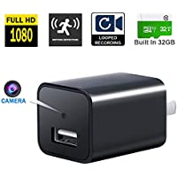 Xingqijia Mini Security Camera,1080P HD USB Wall Camera Charger, Nanny Cam Adapter Built-in 32G SD Card, Video-Only Camera for Home Surveillance [2018 Edition]