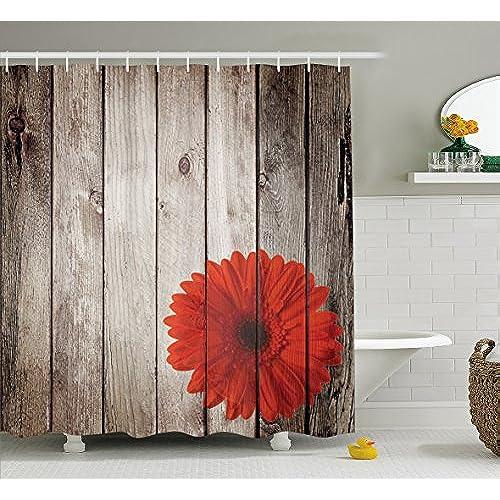 Ambesonne Grunge Decor Shower Curtain Set, Rustic Wooden Garden Fence With  A Red Daisy Bloom Picture Flower Art Floral Garden Design, Bathroom  Accessories, ...