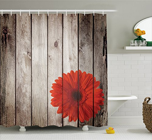 Daisy Flower Rug - Ambesonne Grunge Decor Shower Curtain Set, Rustic Wooden Garden Fence with a Red Daisy Bloom Picture Flower Art Floral Garden Design, Bathroom Accessories, Polyester Fabric, 75 Inches Long, Grey Red
