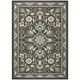 Maples Rugs Area Florence 5 x 7 Non Slip Large Rug [Made in USA] for Living, Bedroom, and Dining Room, Grey