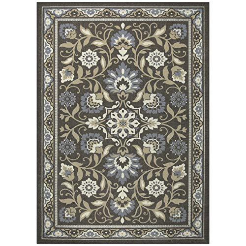 Maples Rugs Area Florence 7 x 10 Non Slip Large Rug [Made in USA] for Living, Bedroom, and Dining Room, Grey