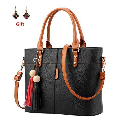 Handbags Ladies China (Londony Fashion Bag, Womens Handbags and Purses Handbags Ladies Shoulder Bags Designer Satchel Tote Bag Black)