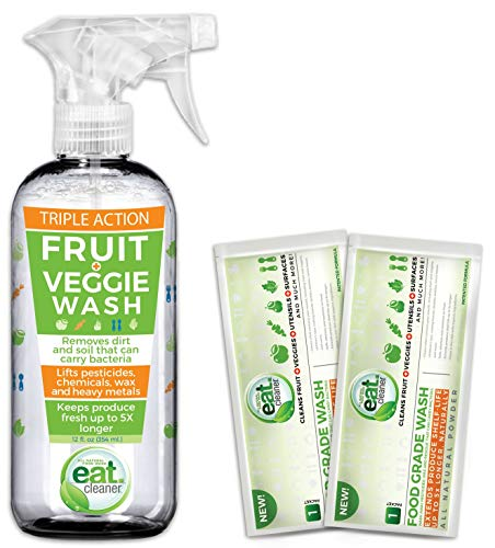 Eat Cleaner Fruit and Vegetable Wash Bundle Includes One 12 Oz Spray Veggie Wash and Two Powder Packs That Wash Up to 60lbs of Produce