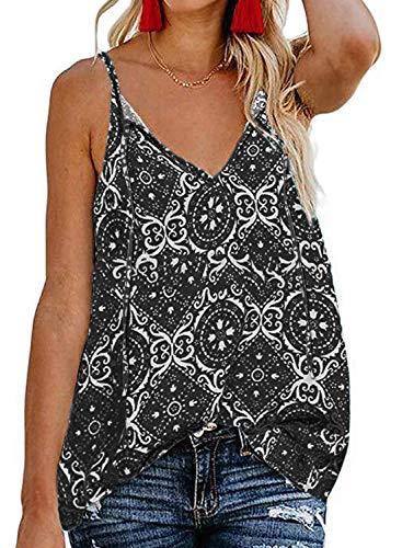 Roseseedlove Women's Boho Floral V Neck Spaghetti Straps Tank Top Summer Sleeveless Shirts Blouse (Black Floral, Medium) ()
