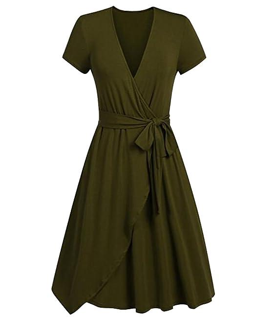 Donna Estate Vintage Vestito Eleganti Anni 50 Cocktail Partito Swing Abito  Tinta Unita A-Line 71c55fdab8a