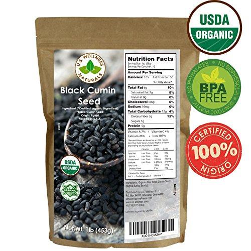 Black Cumin Seed (Black Cumin Seed 1lb (16Oz) (Bulk Nigella Sativa): 100% USDA Certified ORGANIC Bulk Egyptian Black Seeds (Black Caraway) – AKA Nigella or Kalonji, by U.S. Wellness Naturals)