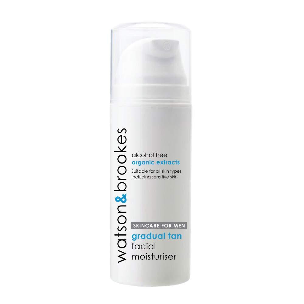 Watson & Brookes Crema idratante abbronzante per viso, per uomo, crema idratante sensibile, 100ml, pelle liscia, rinfrescata e idratata,autoabbronzante graduale, senza profumo, prodotto nel Regno Unito Welby